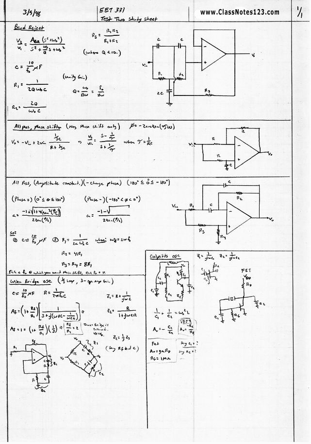Operational Amplifier Filter Design Exam Formula Sheet